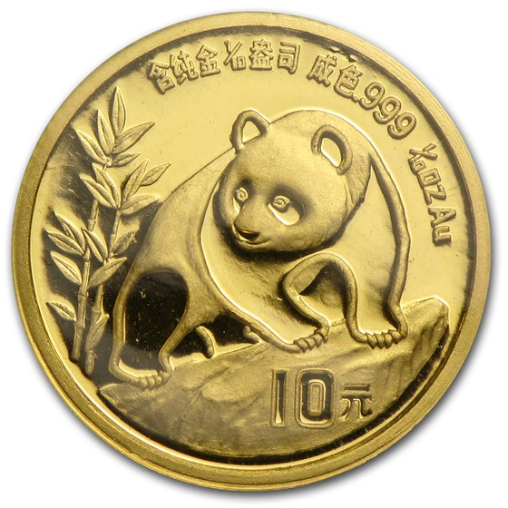 1990 China 1/10 oz Gold Panda Large Date BU (Sealed)