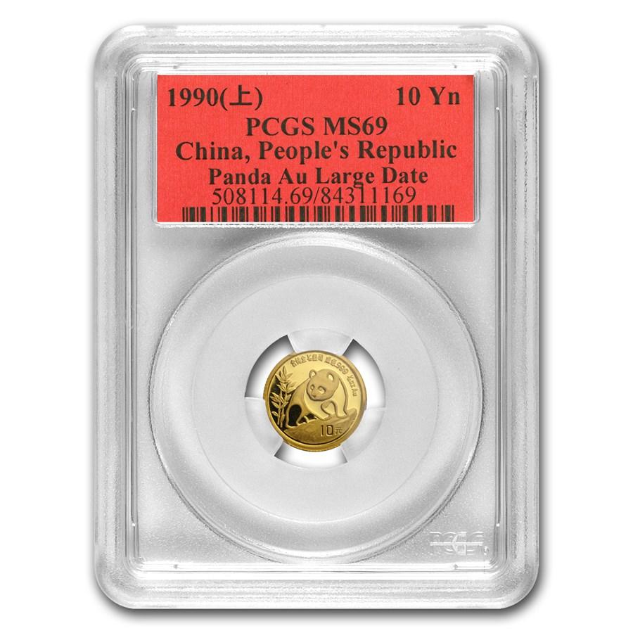 1990 China 1/10 oz Gold Panda Large Date MS-69 PCGS