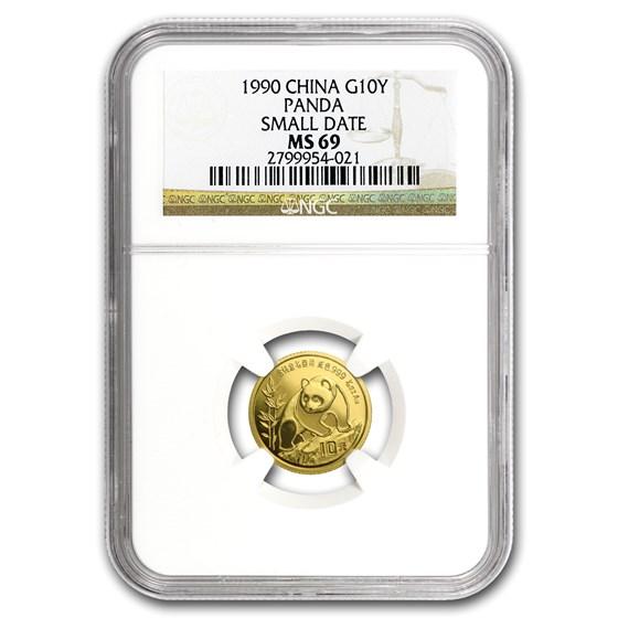 1990 China 1/10 oz Gold Panda Small Date MS-69 NGC