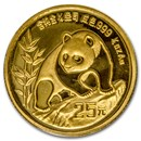 1990 China 1/4 oz Gold Panda Large Date BU (Sealed)