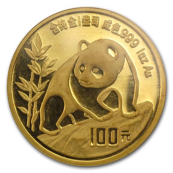 1990 China 1 oz Gold Panda Large Date BU (Sealed)