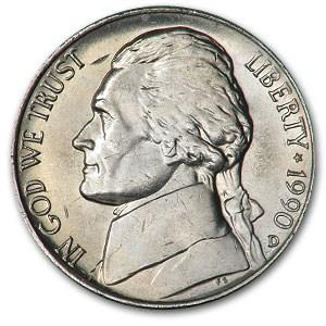 1990-D Jefferson Nickel BU