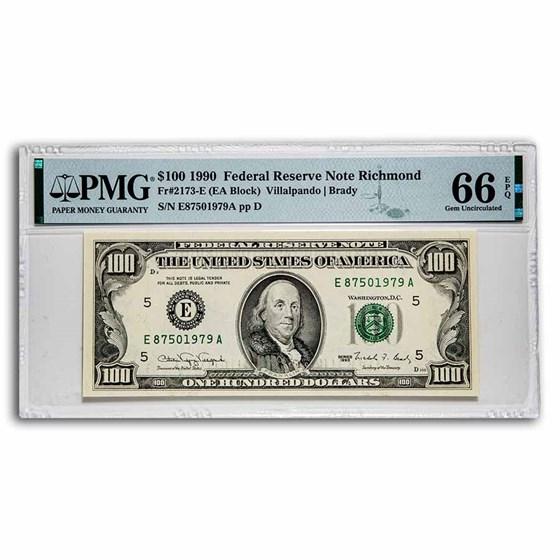 1990 (E-Richmond) $100 FRN Gem CU-66 EPQ PMG (Fr#2173-E)