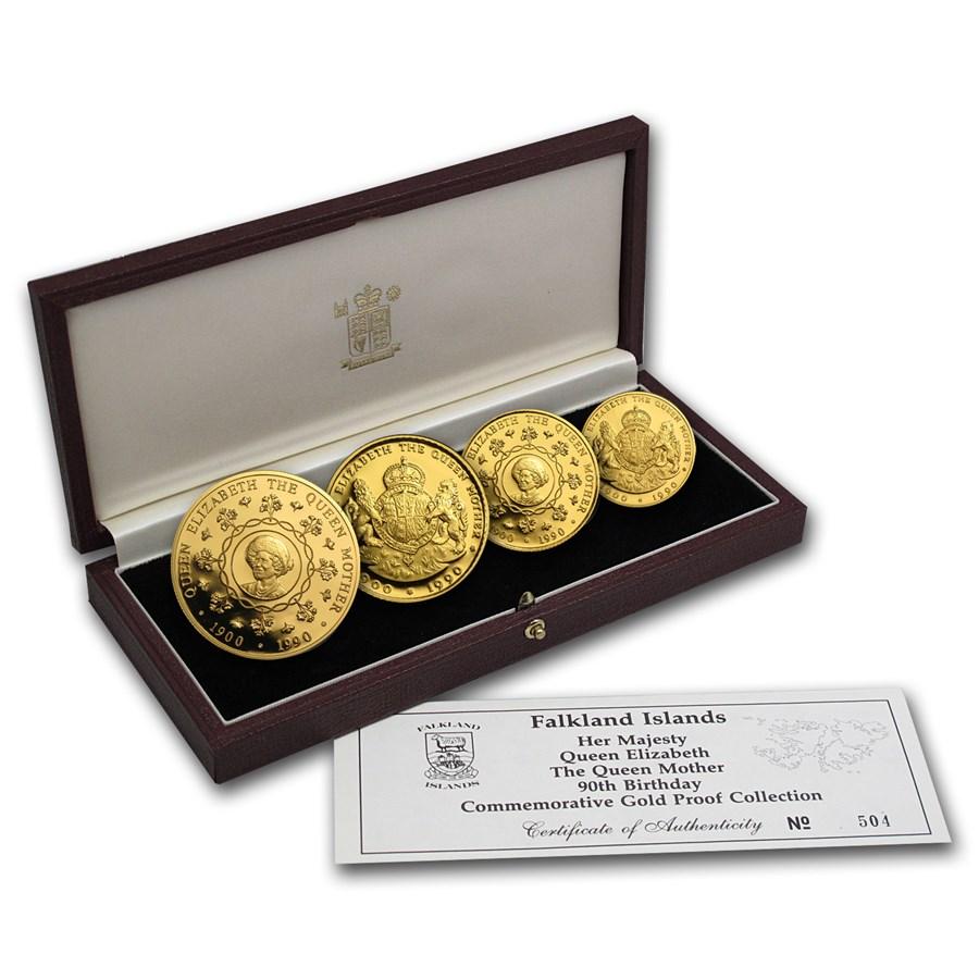 1990 Falkland Islands 4-Coin Gold Queen Mother Proof Set