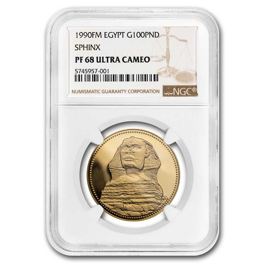 1990-FM Egypt Gold 100 Pounds Sphinx PR-68 UCAM NGC