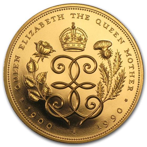 1990 Great Britain Gold £5 Proof Queen Mother