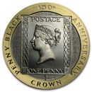 1990 Isle of Man 1 Crown Proof Gold Penny Black