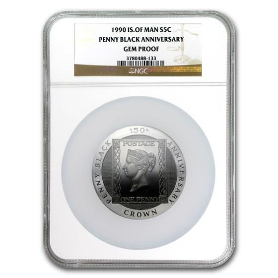 1990 Isle of Man Silver 5 Crown Penny Black Gem Proof NGC