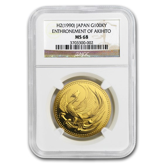 1990 Japan Gold 100,000 Yen Akihito Enthronement MS-68 NGC
