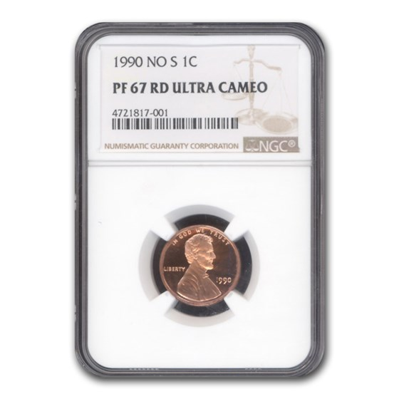 1990 No S Lincoln Cent PF-67 NGC (Red)