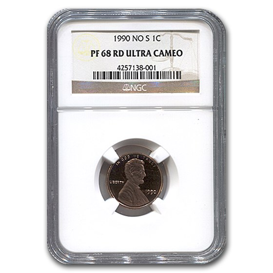 1990 No S Lincoln Cent PF-68 UCAM NGC (Red)