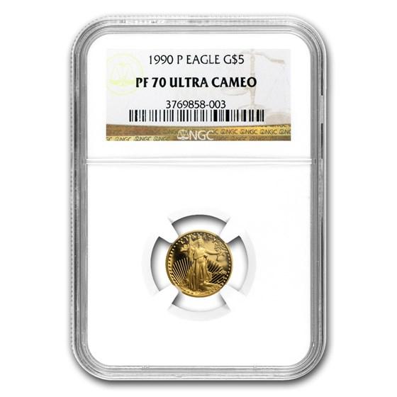 1990-P 1/10 oz Proof American Gold Eagle PF-70 UCAM NGC