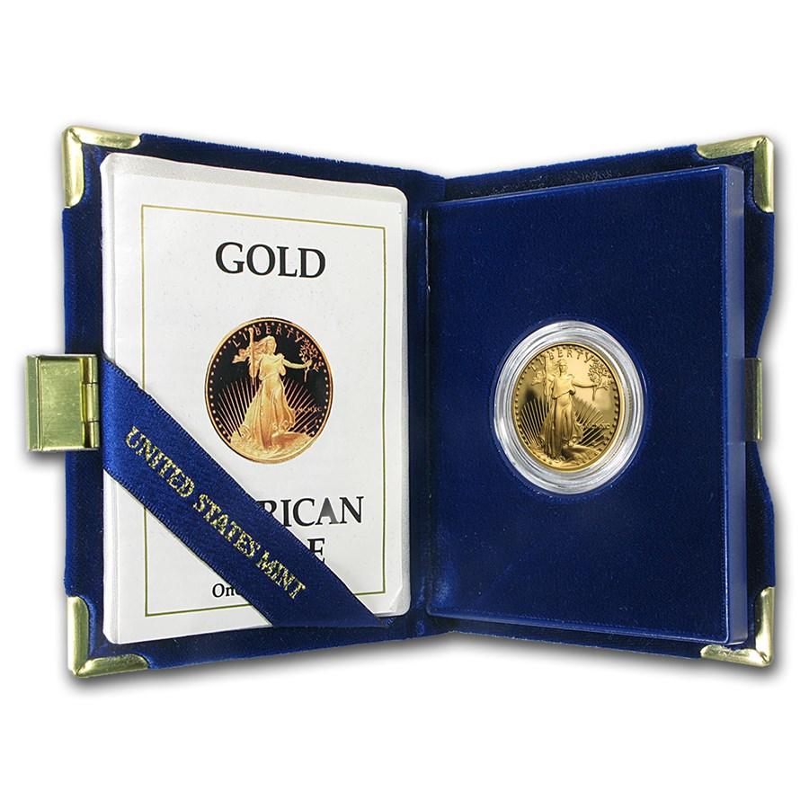 1990-P 1/2 oz Proof American Gold Eagle (w/Box & COA)