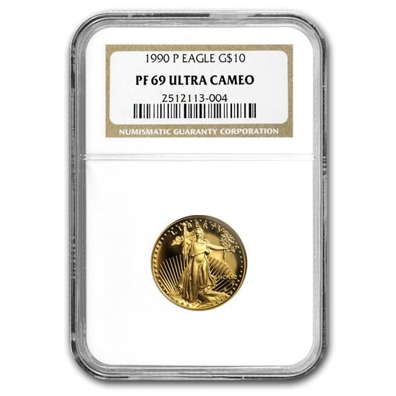 1990-P 1/4 oz Proof American Gold Eagle PF-69 NGC
