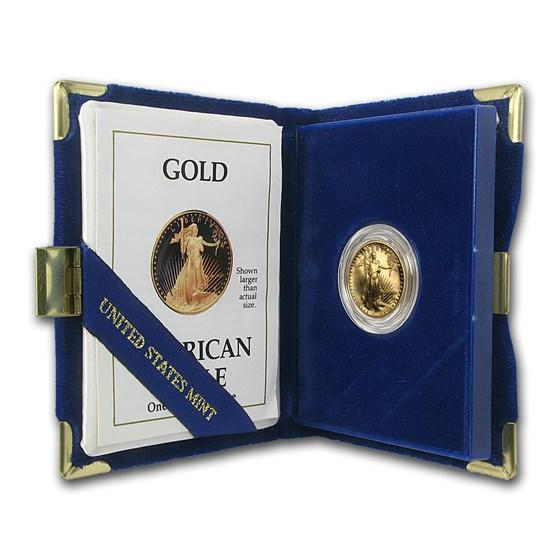 1990-P 1/4 oz Proof American Gold Eagle (w/Box & COA)