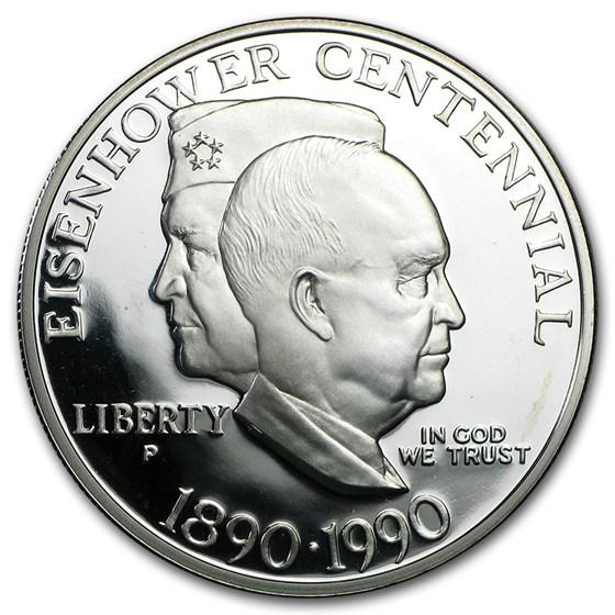 1990-P Eisenhower Centennial $1 Silver Commem Prf (Capsule Only)