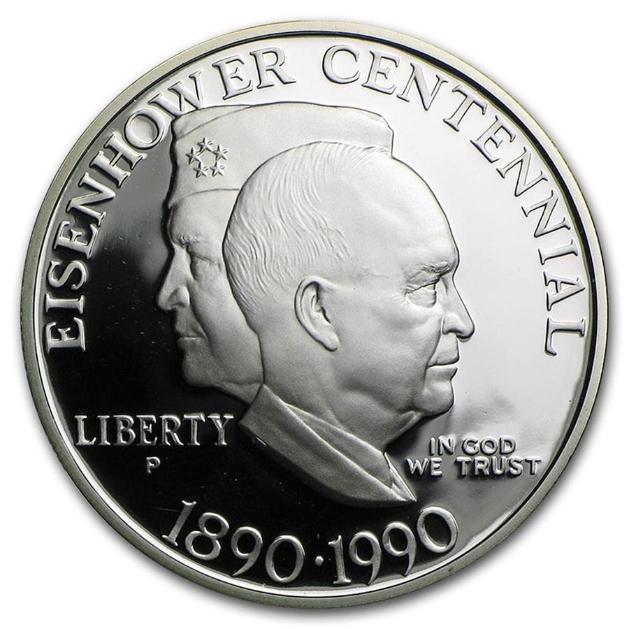 1990-P Eisenhower Centennial $1 Silver Commem Proof (w/Box & COA)