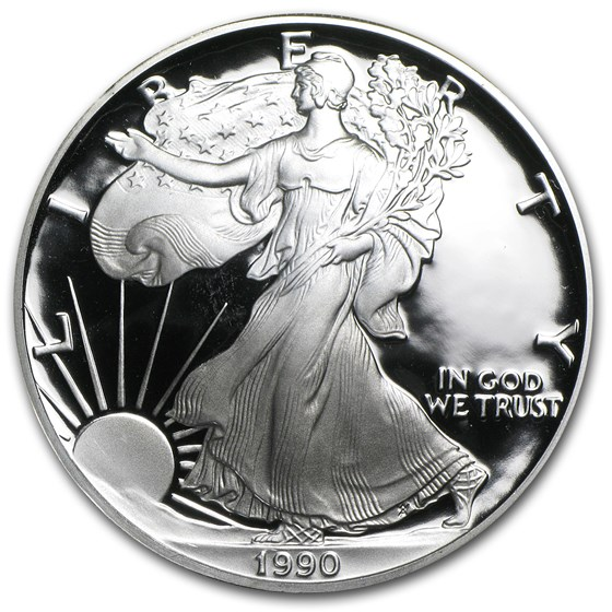 1990-S 1 oz Proof American Silver Eagle (w/Box & COA)