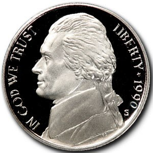 1990-S Jefferson Nickel Gem Proof