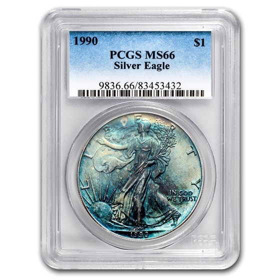 1990 Silver American Eagle MS-66 PCGS (Obv & Rev Toning)