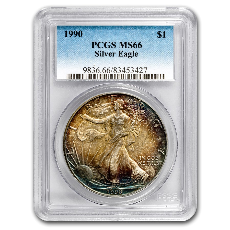 1990 Silver American Eagle MS-66 PCGS (Obv Toning)