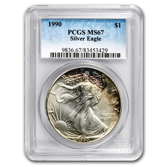 1990 Silver American Eagle MS-67 PCGS (Obv and Rev Toning)
