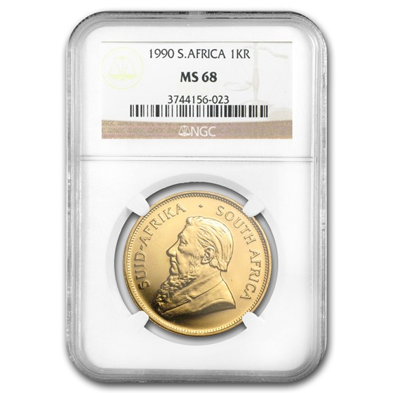 1990 South Africa 1 oz Gold Krugerrand MS-68 NGC