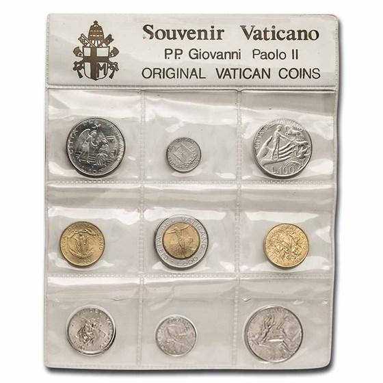 1990 Vatican City Pope John Paul II 9-Coin Souvenier Set BU