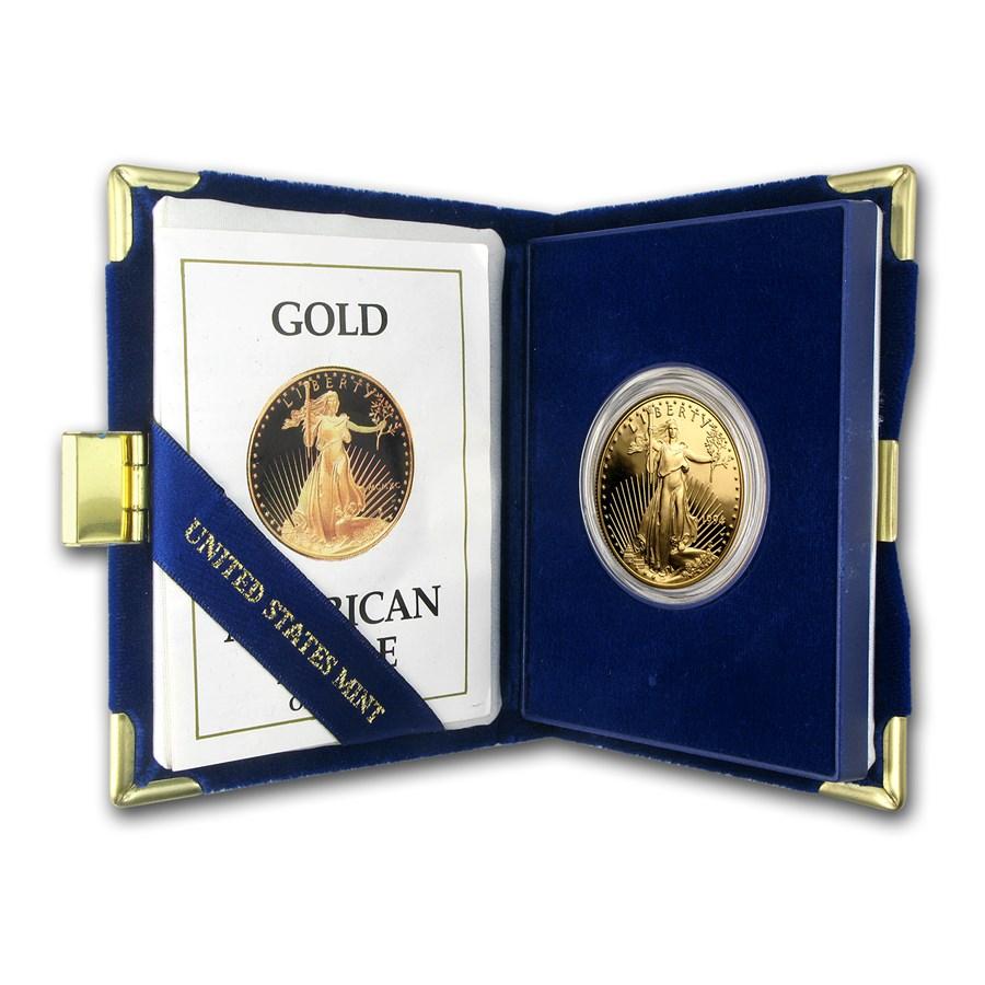 1990-W 1 oz Proof American Gold Eagle (w/Box & COA)