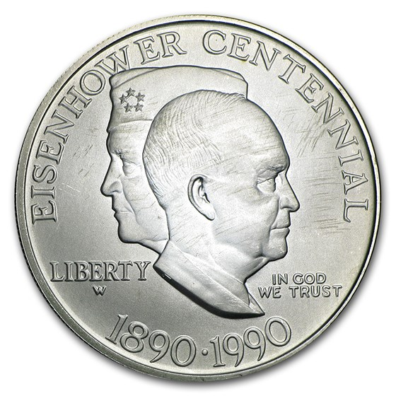 1990-W Eisenhower Centennial $1 Silver Commem BU (Capsule Only)