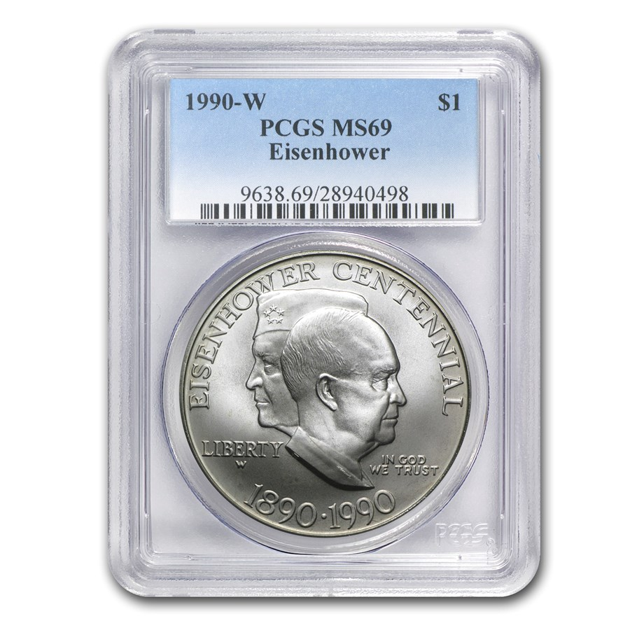1990-W Eisenhower Centennial $1 Silver Commem MS-69 PCGS