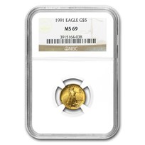 1991 1/10 oz American Gold Eagle MS-69 NGC