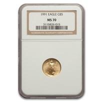 1991 1/10 oz American Gold Eagle MS-70 NGC