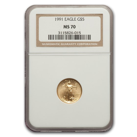 1991 1/10 oz American Gold Eagle MS-70 NGC