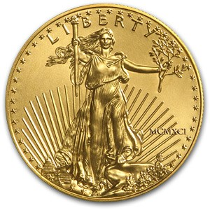 1991 1/10 oz Gold American Eagle (Lightly Cleaned or Polished)