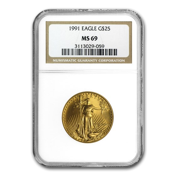 1991 1/2 oz American Gold Eagle MS-69 NGC
