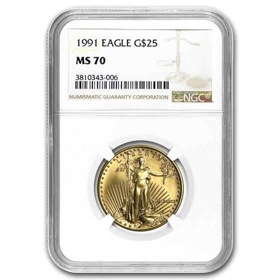 1991 1/2 oz American Gold Eagle MS-70 NGC