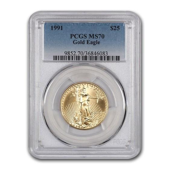 1991 1/2 oz American Gold Eagle MS-70 PCGS