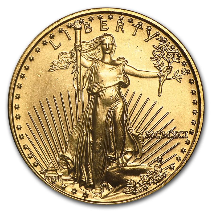 1991 1/2 oz Gold American Eagle BU (MCMXCI)