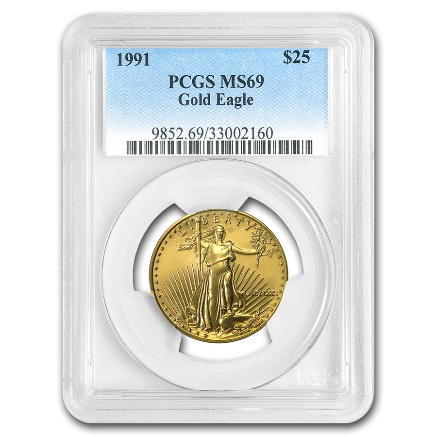 1991 1/2 oz Gold American Eagle MS-69 PCGS