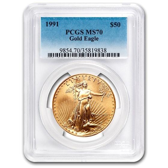 1991 1 oz American Gold Eagle MS-70 PCGS