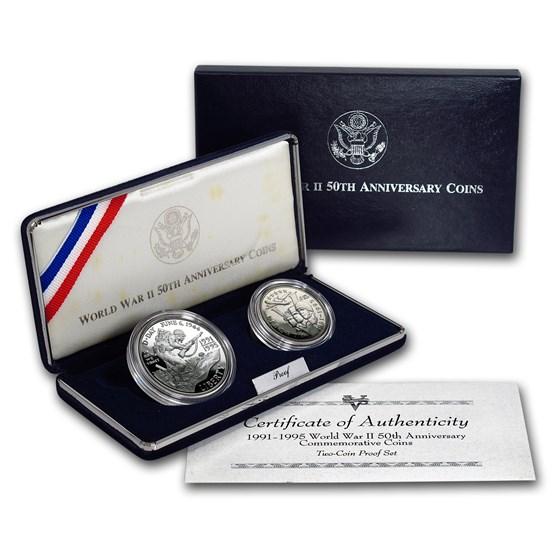 1991-1995 2-Coin World War II Proof Set (w/Box & COA)