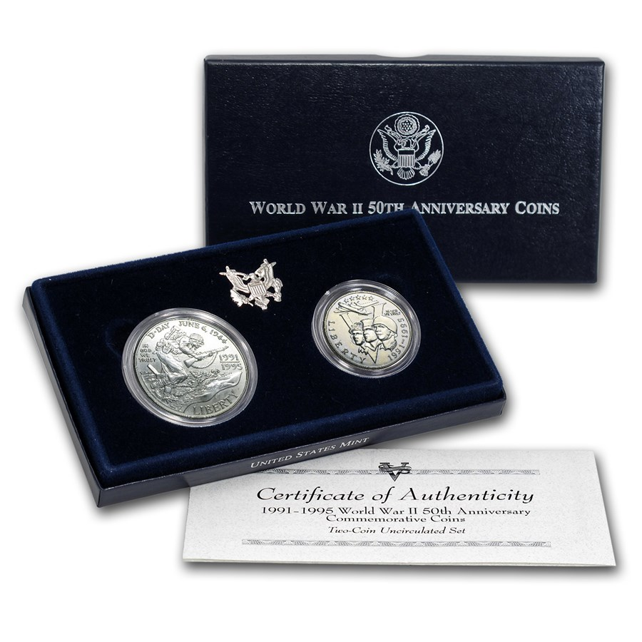 1991 - 1995 2-Coin World War II Set BU (w/Box & COA)