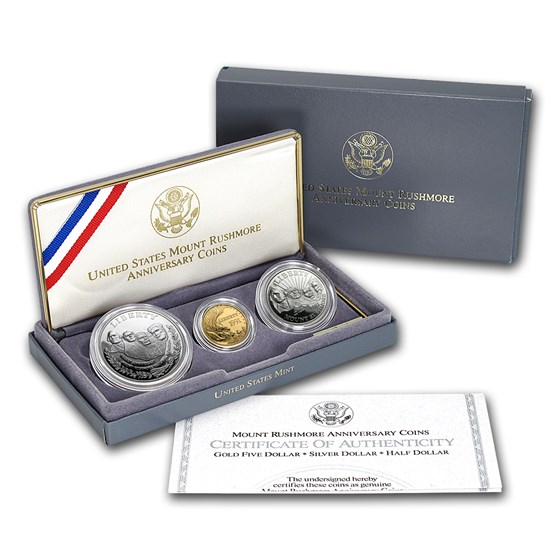 1991 3-Coin Commem Mount Rushmore Proof Set (w/Box & COA)