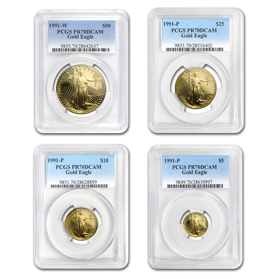 1991 4-Coin Proof American Gold Eagle Set PR-70 PCGS