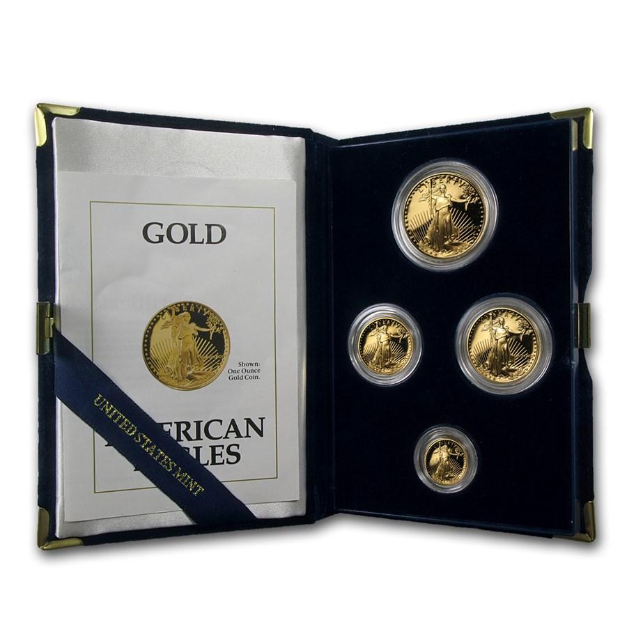 1991 4-Coin Proof American Gold Eagle Set (w/Box & COA)