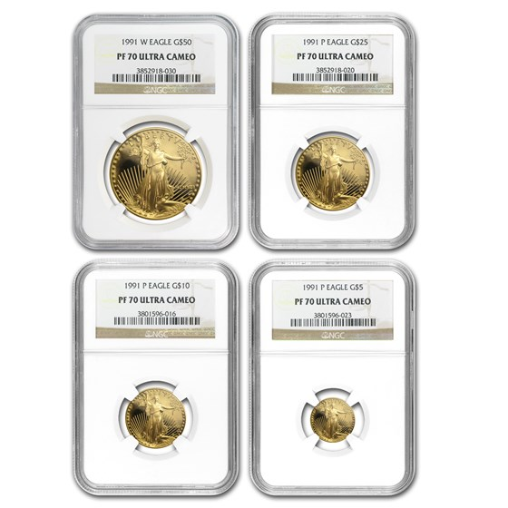 1991 4-Coin Proof Gold American Eagle Set PF-70 NGC