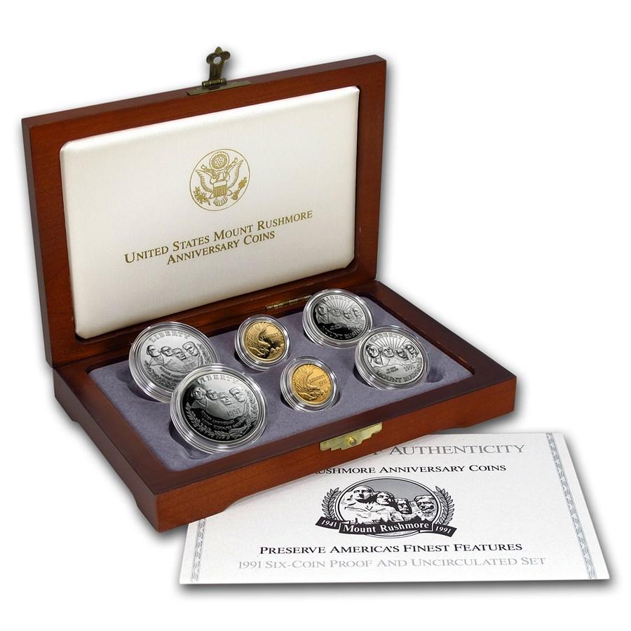 1991 6-Coin Commem Mount Rushmore Set BU & Proof (w/Box & COA)