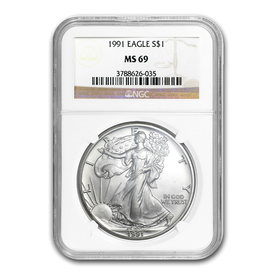 1991 American Silver Eagle MS-69 NGC
