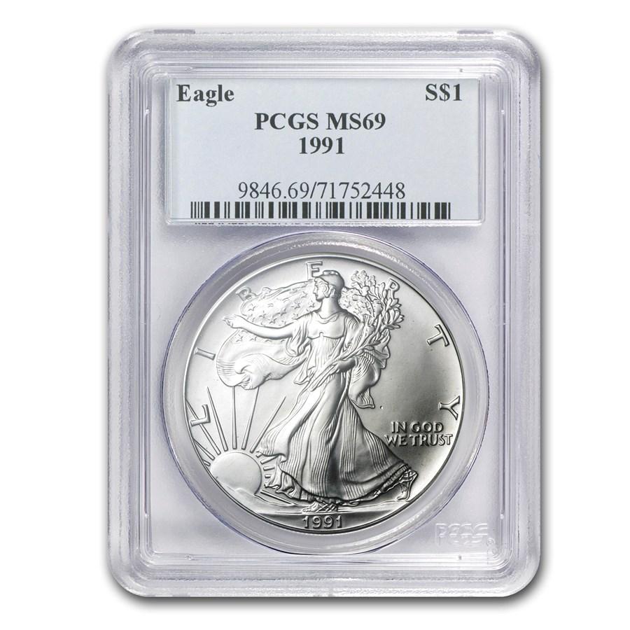 1991 American Silver Eagle MS-69 PCGS